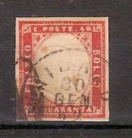 (Fb).A.Stati.Sardegna.-40c Rosa Carminio Usato Con Timbro Del 30 Gen 1862  (393-16) - Sardinien