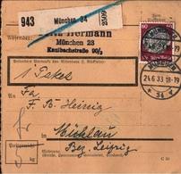! 1933 Paketkarte Deutsches Reich, München 34, Hindenburg Medaillon Einzelfrankatur Nr. 493 - Deutschland
