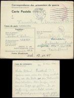 S7398 - DR Frankreich Kriegsgefangenen Postkarte , Kriegsende: Gebraucht St- Etienne - Frankfurt 9.5.1945 ,Bedarfserha - Allemagne