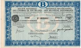 Titre De Bourse NMBS - SNCB - De 2 Actions De Jouissance - Van 2  Winstaandeelen - 1937. - Chemin De Fer & Tramway