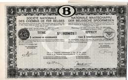 Titre De Bourse NMBS - SNCB - De 5 Actions De Jouissance - Van 5 Winstaandeelen - 1937. - Chemin De Fer & Tramway
