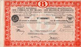 Titre De Bourse NMBS - SNCB - De 10 Actions De Jouissance - Van 10 Winstaandeelen - 1937. - Chemin De Fer & Tramway