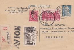 Entier Postal CP 5f Gandon Recommandé Par Avion  + T.P. Ob Paris 148 28 7 1948 Pour Beograd - Entiers Postaux