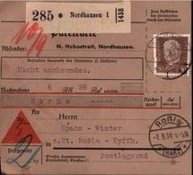! 1934 Nachnahme Paketkarte Deutsches Reich, Nordhausen, N. Roßla, Harz - Briefe U. Dokumente