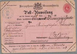 1867 OTTENSTEIN Herzogthum Braunschweig Post-Anweisung 1 Gr. - Alemania