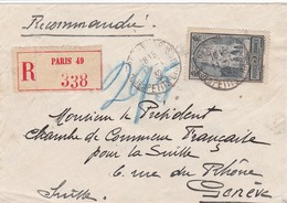 N° 259 S / Env Recommandée T.P. Ob Cad Paris 49 11 I 32 Pour Genève Suisse - Marcophilie (Lettres)