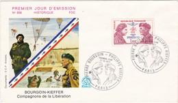 ENVELOPPE - Premier Jour D'émission - BOURGOIN-KIEFFER - Compagnons De La Libération ( Timbrée ) Croix De Lorraine - Guerra 1939-45