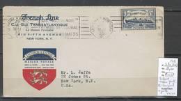 France -Lettre  New York Au Havre C  - 1935 - Voyage Inaugural Normandie - Marcophilie (Lettres)