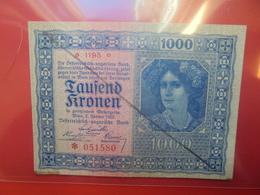 AUTRICHE 1000 KRONEN 1922 CIRCULER-DEMONETISER (B.10) - Austria