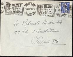 Flamme Blois Gare Berceau De La Renaissance 2.X.52 - Postmark Collection (Covers)
