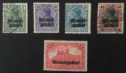 1920 Freimarken Des Deutschen Reiches Mit Aufdruck Memelgebiet Mi.1, 4(*), 5, 9*), 15(*) - Allemagne