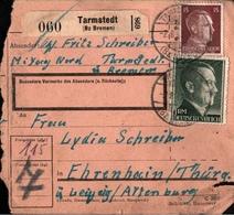 ! 1943 Paketkarte Deutsches Reich, Tarmstedt , Niedersachsen - Allemagne