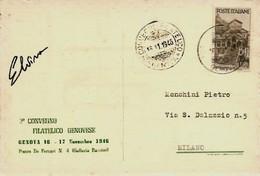 Genova 16-17 Novembre 1946 - 2° Convegno Filatelico Genovese - - Esposizioni Filateliche