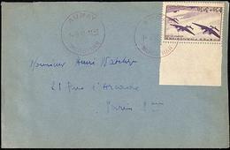 Timbre N° 540 Seul Sur Lettre Auray En Rouge 14.9.1943 - Postmark Collection (Covers)