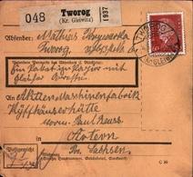 ! 1933 Paketkarte Deutsches Reich, Toworog Kreis Gleiwitz Nach Artern - Covers & Documents