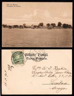 1907 - Portugal Guinea Bissau Postcard Circulated From S. Tomé To Lisbon. Bissau Village View. 10r Stamp. - Guinea-Bissau