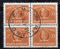 FRZ27a - REPUBBLICA , Recapito Autorizzato STELLE : Quartina Usata Del 35 Lire - 6. 1946-.. Republic