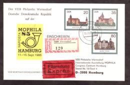 DDR - Enveloppe Entier Postal - MOPHILA85 - Hambourg - Vignettes Recommandé + Exprès - Privatumschläge - Gebraucht