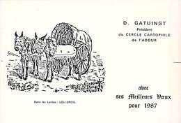 CPM D.GATUINGT Président  CERCLE CARTOPHILE De L' ADOUR Meilleurs Voeux 1987 Dessin Dans Les Landes Lou Bros - Bourses & Salons De Collections