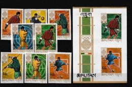 D01056)Olympia 68: Bhutan 233 - 240 B** + Bl 19 B** - Estate 1968: Messico