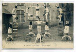 72 LE MANS  Ecole La Jeanne D'arc Ses Acrobates Gymnastique Cour  1910 - -/D14-2017 - Le Mans
