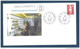 Env Dernier Voyage De L'ambulant, Paris à Chambéry- D, 4-11-94, , N°2819 Y Et T - Marcophilie (Lettres)