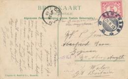 Nederlands Indië - 1913 - 5 Cent Cijfer Op Ansicht Van KB Semarang Naar Goginan / Wales / UK - Nederlands-Indië