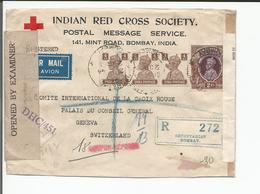 Inde, Lettre Recommandée Censure, Indian Red Cross Bombay  - Croix Rouge Genève Suisse (21.5.44) - India