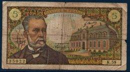 """FR Billet De 5 Fr  Au Type """"Pasteur""""   Mai 1967 - 1962-1997 ''Francs''"""