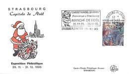 Christkindelsmärik Bienvenue à Strasbourg Marché De Noël 25.11/31.12.95 Strasbourg-Pl.Cathédrale 25.11.95 - Marcophilie (Lettres)