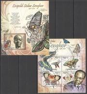 BC483 2012 GUINE GUINEA-BISSAU FAUNA BUTTERFLIES LEOPOLD SEDAR SENGHOR KB+BL MNH - Schmetterlinge