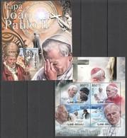 BC490 2012 GUINE GUINEA-BISSAU ART RELIGION POPE JOHN PAUL II KB+BL MNH - Papi