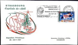 Christkindelsmärik Marché De Noël Bienvenue Au États-Baltes 29.11.97 Strasbourg Neudorf 27.11.97 - Marcophilie (Lettres)
