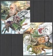 BC495 2012 GUINE GUINEA-BISSAU FAUNA DINOSAURS 130TH ANNIVERSARY CHARLES DARWIN KB+BL MNH - Postzegels