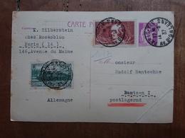 FRANCIA - Cartolina Postale Spedita In Germania Nel 1937 (piega Angolo) + Spese Postali - Storia Postale