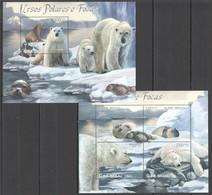 BC526 2012 GUINE GUINEA-BISSAU WILD ANIMALS POLAR BEARS URSOS POLARES E FOCAS KB+BL MNH - Bears