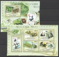 BC544 2012 GUINE GUINEA-BISSAU FAUNA POSTAL HISTORY WWF SELO SOBRE SELO 1KB+1BL MNH - Stamps On Stamps