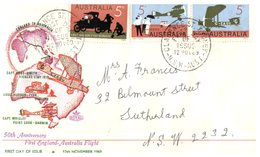 (68) Australia FDC Cover (posted) - 1969 - 50th Anniversary First England To Australia Flight - Ersttagsbelege (FDC)