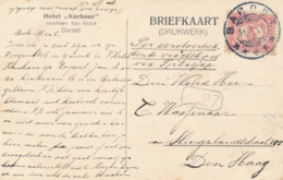 Nederlands Indië - 1916 - 5 Cent Cijfer Op Sepia Ansicht Hotel Kurhaus Van KB Garoet Naar Den Haag - Tuin Hotel Kurhaus - Indes Néerlandaises