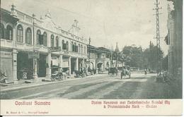 Nederlands-Indië,Sumatra Oostkust,Djalan Kesawan Met Ned. Handel My. & Protestantsche Kerk-Medan 1909 - Indonesia