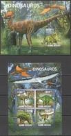 BC607 2011 GUINE GUINEA-BISSAU FAUNA PREHISTORIC ANIMALS DINOSAURS DINOSAUROS KB+BL MNH - Postzegels