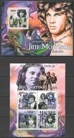 BC621 2011 GUINE GUINEA-BISSAU MUSIC LEGEND JIM MORRISON THE DOORS 1BL+1KB MNH - Music