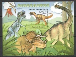 BC677 2011 GUINE GUINEA-BISSAU FAUNA PREHISTORIC ANIMALS DINOSAURS DINOSAUROS BL MNH - Postzegels