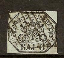 (Fb).A.Stati.Pontificio.1852.-6 Baj Grigio Verdastro Usato (83-19) - Kirchenstaaten