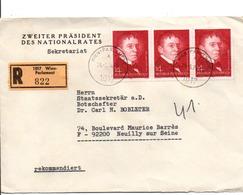 AUTRICHE AFFRANCHISSEMENT COMPOSE SUR LETTRE RECOMMANDEE POUR LA FRANCE 19784 - 1971-80 Gebraucht
