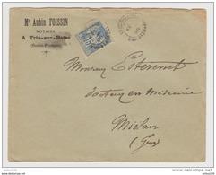 LETTRE TRIE SUR BAISE 1896 MAÎTRE AUBIN FOISSIN → MIELAN GERS - TYPE SAGE - 1877-1920: Periodo Semi Moderno