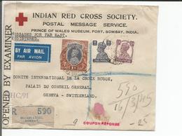 Inde, Lettre Recommandée Censure, Indian Red Cross Bombay  - Croix Rouge Genève Suisse (16.3.45) - Lettres & Documents