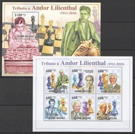BC736 2010 GUINE GUINEA-BISSAU SPORT CHESS TRIBUTO A ANDOR LILIENTHAL 1KB+1BL MNH - Chess
