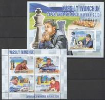 BC737 2010 GUINE GUINEA-BISSAU SPORT CHESS VASSILY IVANCHUK 1KB+1BL MNH - Chess