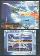 BC740 2010 GUINE GUINEA-BISSAU AVIATION TRAGEDIA DO CONCORDE 1BL+1KB MNH - Concorde